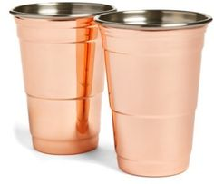 Fred & Friends Set Of 2 Copper Party Cups-Perfect for everything from Moscow Mules to IPAs, these shining copper-plate cups offer a stylish upgrade to a party classic.#afflink