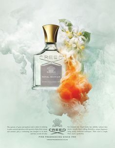 Giles Revell recently partnered with Harrods for an exclusive release of Creed fragrances. Referencing past projects such as BBC Art Revealed, Giles uses his signature process of suspending pigments underwater to craft mesmerizing and ethereal images. Creed Perfume, Creed Fragrance, Fragrance Parfum, Perfume Oils, Perfume Bottles, Object Photography, Photo Retouching, Advertising Photography, Parfum Spray