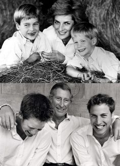 Princes William and Harry with their parents the Prince and Princess of Wales