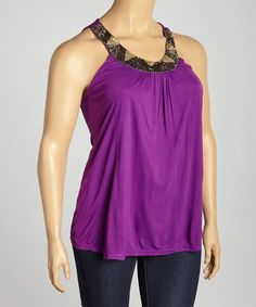 Look at this Purple Beaded Yoke Top - Plus on #zulily today!