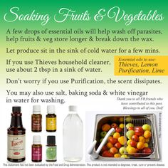 Soaking Fruits and Vegetables in Essential Oils - Young Living -  http://gracefulessentialoils.webs.com/clever-uses-for-oils