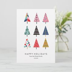 Happy Holidays Christmas Tree Elegant Holiday Card Tree Elegant Holiday Happy New Year Button Christmas Cards, Painted Christmas Cards, Modern Christmas Cards, Diy Holiday Cards, Beautiful Christmas Cards, Christmas Card Crafts, Homemade Christmas Cards, Christmas Drawing, Holiday Greeting Cards