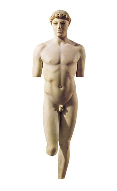 """Kritios Boy"".  It is the first statue from classical antiquity known to use contrapposto. Marble, c. 480 BC. Acropolis Museum, Athens."