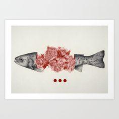 Buy To Bloom Not Bleed II Art Print by The White Deer.  #fish #floral #art