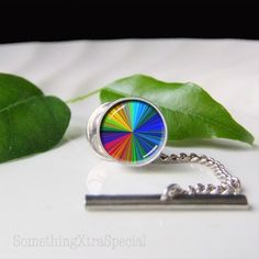Spectrum Tie Tack, Colour Spectrum, Silver Tie Pin, Tie clasp, Colour Wheel. $42.00, via Etsy.
