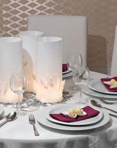 Schmetterling-Windlicht - Tagsüber zaubert diese Tischdekoration ein modernes Ambiente und abends tauchen die Windlichter den Raum in ein stimmungsvolles Licht.
