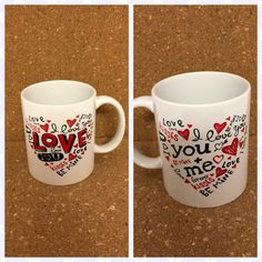 Love You Heart Word Collage Valentine's Day Handmade Ceramic Mug by NGBCraftsandSupplies on Etsy Word Collage, Love Me Forever, Tim Holtz, Clear Stamps, Valentines Day, Love You, Ceramics, Mugs, Words