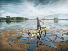 Erik Johansson, a photographer and digital artist used 17 square meters of glass and lot of Photoshop skill to create the impressive surreal image you see Surrealism Photography, Artistic Photography, Creative Photography, Photography Tricks, Conceptual Photography, People Photography, Digital Photography, Surreal Photos, Surreal Art