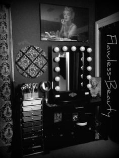 Ms. Monroe inspired this Vanity Girl's space …Black Broadway Makeup Vanity $399