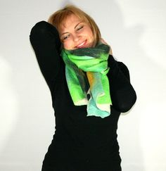 25 DISCOUNT Felted Scarf Nunofelt Merino wool by Filtil on Etsy, $122.00