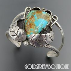 Native American Old Dead Pawn Navajo Sterling Silver Huge American Turquoise Feathers Cuff Bracelet