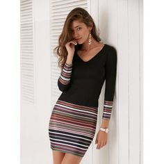 Colorful Striped Long Sleeve V-Neck Dress - BLACK M