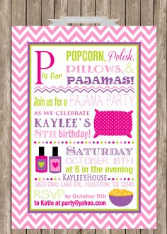Pajama Party Birthday Invitation-Slumber Party, Sleepover, Girls, Printable (www.partybeautiful.etsy.com)