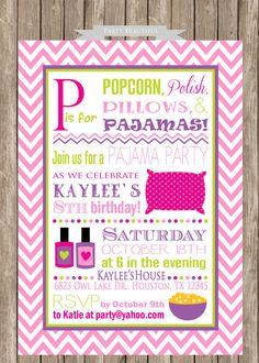 Pajama Party Birthday Invitation-Slumber Party, Sleepover, Girls, Printable (www.partybeautiful.etsy.com)