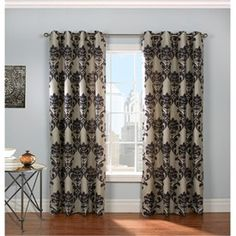 Grommet Top Curtain - Black and Taupe Curtain - Damask Curtain