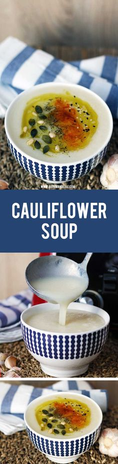 Cauliflower Soup | Quick & Easy Recipe with Just 3 Ingredients! | This quick and easy cauliflower soup recipe is ready in less than 30 minutes and requires just 3 ingredients to make! #cauliflower #soup #vegan https://gourmandelle.com/cauliflower-soup/
