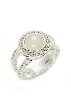 New Directions  Boxed Pearl Hue Crystal Pave Ring