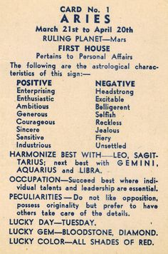 Aries Astrological Characteristics |  TheMadPlatters
