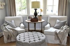ideal arrangement for the two similar style chairs and antique twisted barley drop leaf table.  love the throws.