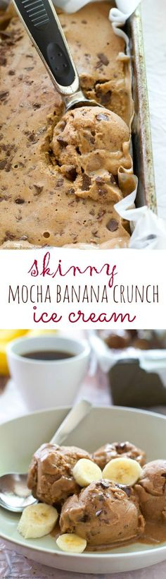 Skinny Mocha Banana Crunch Ice Cream Lots of mocha flavor and a generous portion of crunchy chocolate pieces star in this creamy banana-based ice cream that's secretly healthy and doesn't even require an ice cream maker! Healthy Desserts, Just Desserts, Delicious Desserts, Dessert Recipes, Yummy Food, Party Desserts, Banana Recipes, Ice Cream Recipes, Ice Cream Flavors