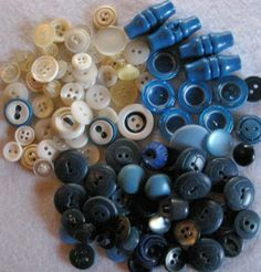 Vintage and Old Buttons  Blues and Whites Mix of 100 by oneof7, $6.00