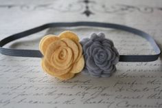 Baby Headband Felt Flower Yellow and Gray  Newborn by ClairesFlair, $7.50