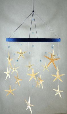 Sea stars baby mobile,zigzag/boy, girl/adults, hanging decoration/lively dark blue/ocean,sea/ blue pearls