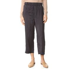 Vince Slouchy Crop Drawstring Pants ($375) ❤ liked on Polyvore featuring pants, capris, slouchy trousers, drawstring pants, vince pants, slouch trousers and cropped pants