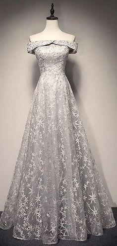 048f001757b Off Shoulder Grey Lace A-line Long Evening Prom Dresses