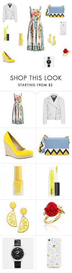 """""""Floral and Yellow"""" by sav-rose-con ❤ liked on Polyvore featuring Dolce&Gabbana, Acne Studios, Michael Antonio, Prada, MAC Cosmetics, Celebrate Shop, Disney Couture and Coach"""