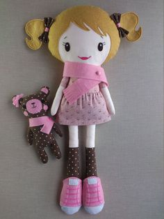 This is Gia, one of a kind and lovely handmade rag doll. She measures 18 and she is made with wool blend felt and 100% cotton fabric. She