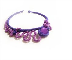 Crochet Necklace Free Form Sculpture Trendy Purple Violet OOAK. $48.00, via Etsy.