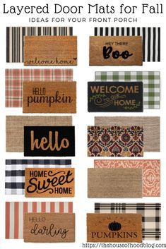 Front Porch Door Mat Layering Ideas for Fall - Dekor Front Door Mats, Front Door Decor, Fall Front Doors, Front Porch Fall Decor, Fromt Porch Ideas, Outside Door Mats, Outside House Decor, Fall Home Decor, Autumn Home