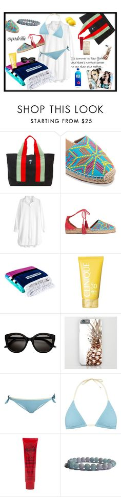 """""""Tanning on the rooftop"""" by zenstore ❤ liked on Polyvore featuring Tomas Maier, Aquazzura, H&M, Clinique, Victoria Beckham and espadrilles"""