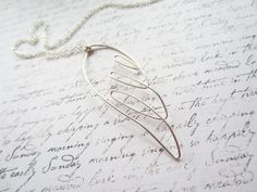 Silver Wire Necklace, Angel Necklace, Wing Necklace,