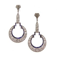 Dramatic Art Deco Diamond and Sapphire Earrings