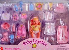 Barbie KRISSY BABY LAYETTE Doll & Accessories Set (1999) Krissy, Baby Sister of Barbie Doll, Baby Layette http://www.amazon.com/dp/B005M4W2SC/ref=cm_sw_r_pi_dp_BKfVvb18Q2PBF