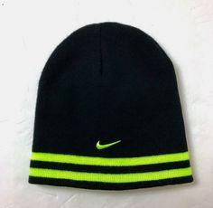 new NIKE REVERSIBLE BEANIE black  amp  volt neon ski winter knit skull hat  cap OSFM 9a0c01ad8647