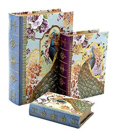 Royal Peacock Set of 3 Large Nesting Book Boxes flux bookSet of three 1310 7 inches -- You can find out more details at the link of the image.