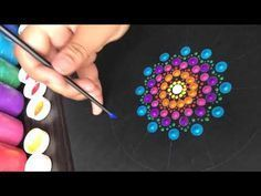 Ideas for how to draw mandala paint Canvas Painting Tutorials, Dot Art Painting, Eye Painting, Pebble Painting, Pebble Art, Stone Painting, Painting Canvas, Mandala Drawing, Mandala Painting