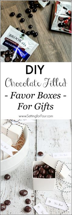 Learn how to make these adorable DIY Chocolate Filled Favor Boxes for Gifts! See the quick and easy tutorial! These chocolatey mini favor boxes make perfect, yummy gift idea for the holidays, Valentines Day, Mothers Day, teacher gifts, thank you gifts as well as wedding and party favors. #ad