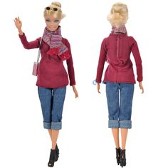 E-TING Handmade Doll Clothes Outfit+Shoulder Bag+Shoes+Glasses+Scarf For Barbie Dolls S #>=#>=#>=#>=#> Click on the pin to check out discount price, color, size, shipping, etc. Save and like it!