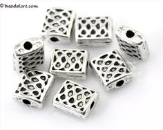 50 Textured Antique Silver Spacer REctangular. Starting at $4 on Tophatter.com!
