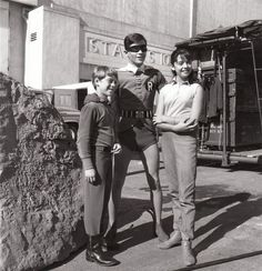 1966: Burt Ward as 'Robin' with Bill Mumy & Angela Cartwright on the set of Lost in Space (1965-68, CBS)