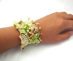 Beaded jewelry Beadwork bracelet Seed bead bracelet cuff by ibics, $85.00