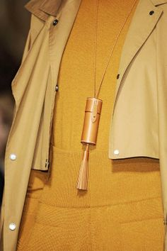 Hermes Fall 2011. Knitted sweater/jumper and mustard yellow leather details