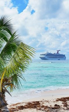 View of a Carnival cruise ship from a Grand Cayman beach during a Caribbean cruise