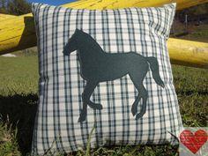 Cuscino in cotone con applicazione di cavallo di RomantikPony