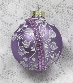 Soft Purple Hand Painted White Floral Texture Design with Bling 324 by MargotTheMUDLady on Etsy Purple Christmas Ornaments, Gold Christmas Decorations, Christmas Ornament Crafts, Christmas Colors, Christmas Diy, Coastal Christmas, Modern Christmas, Scandinavian Christmas, Christmas Trees