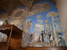 """Muurschildering """"De boom der kennis"""" van de Groningse kunstenaars Matthijs Röling (1943) en Wout Muller (1946-2000),  in de Aula (1e verdieping) van het Academiegebouw van de Rijksuniversiteit Groningen van Rijksbouwmeester J.A.W. Vrijman (1865-1954)."""